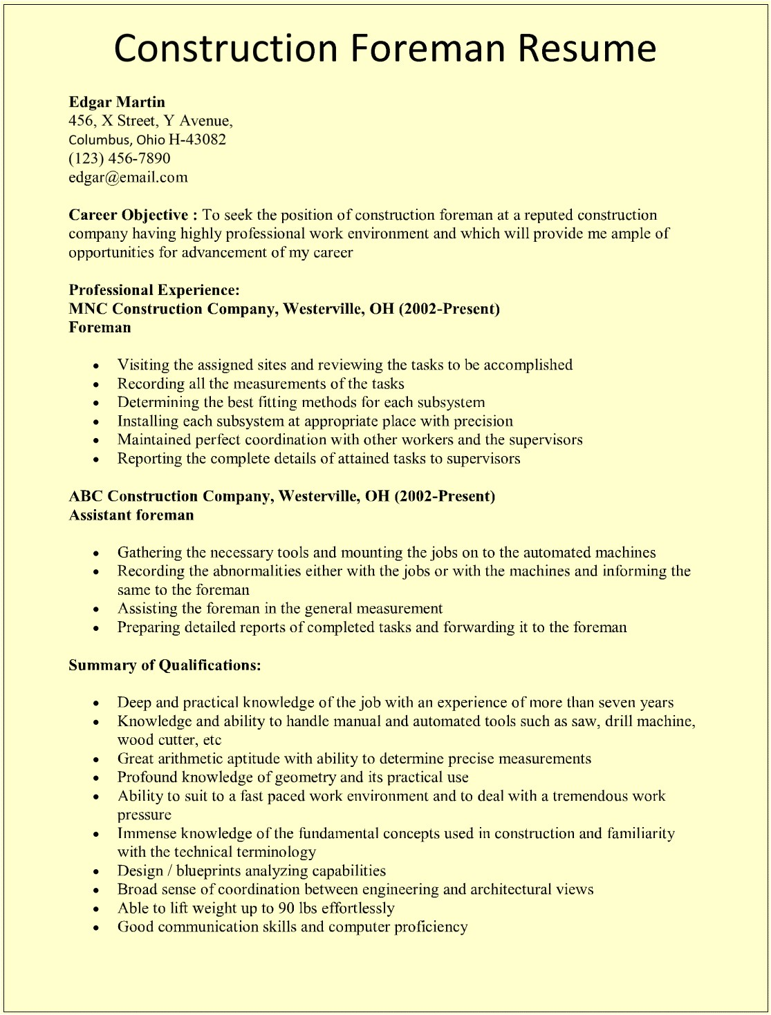 construction foreman resume