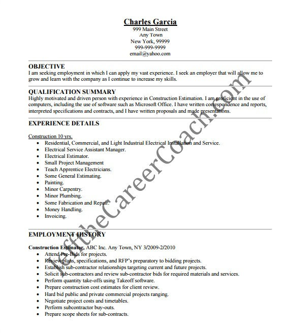 Construction Resume Template Word Construction Resume Template 9 Free Word Excel Pdf