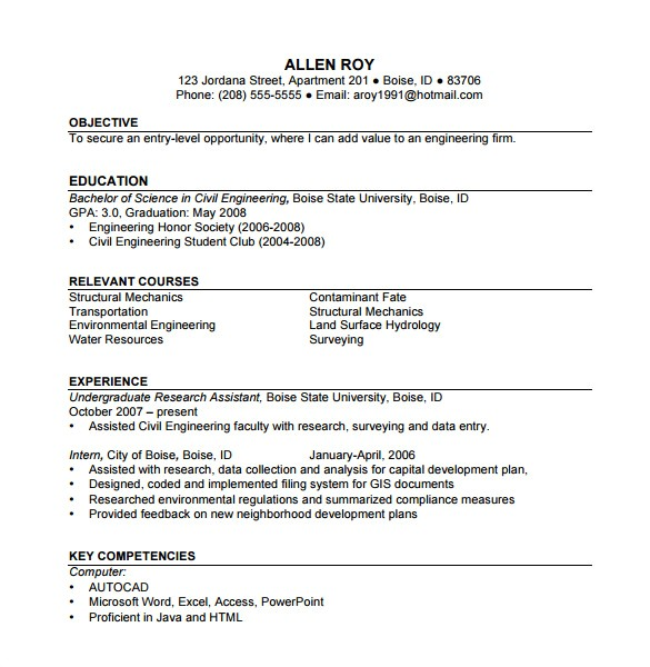 construction resume