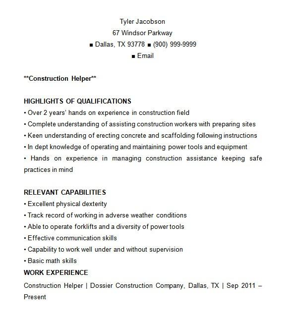 Construction Resume Templates 8 Construction Resume Templates Doc Pdf Free