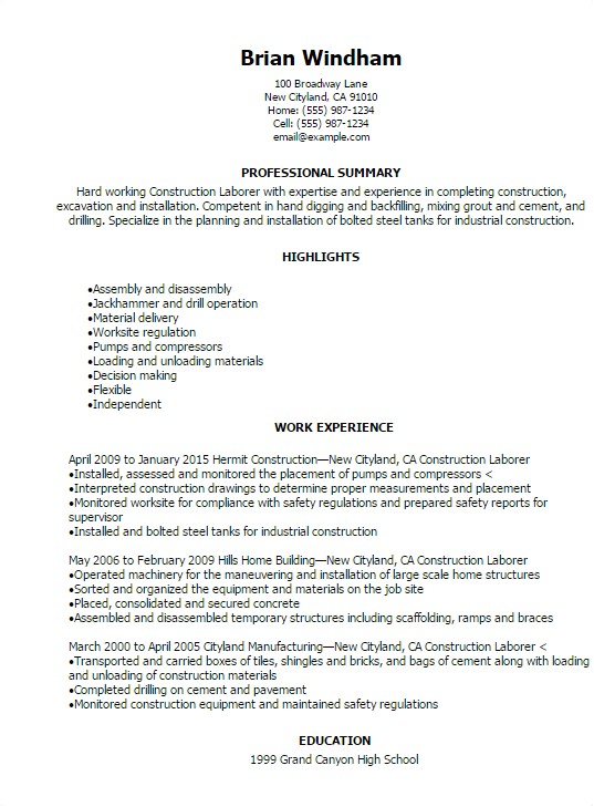 Construction Resume Templates Construction Resume Templates to Impress Any Employer