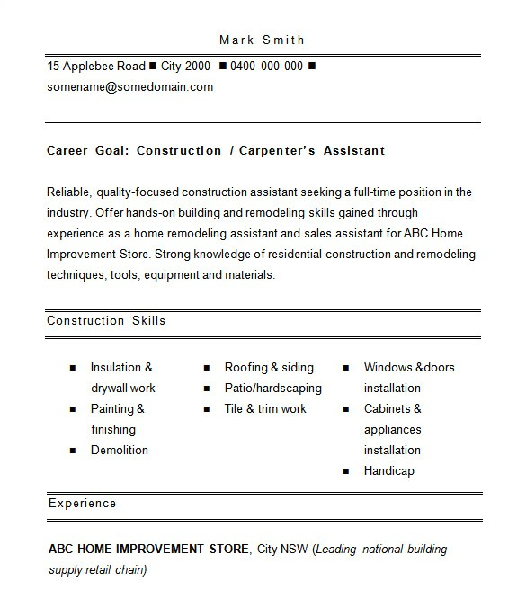 Construction Worker Resume Examples and Samples 8 Construction Resume Templates Doc Pdf Free