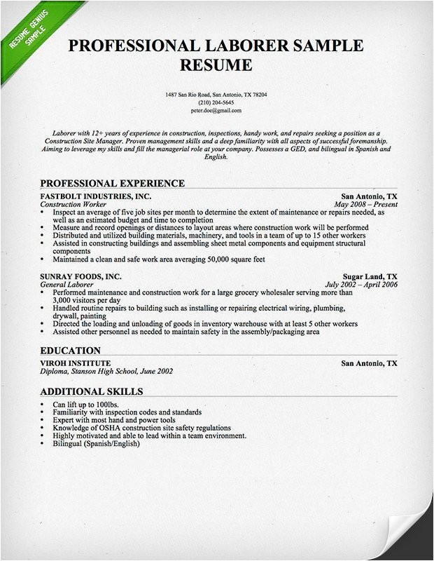 laborer resume example