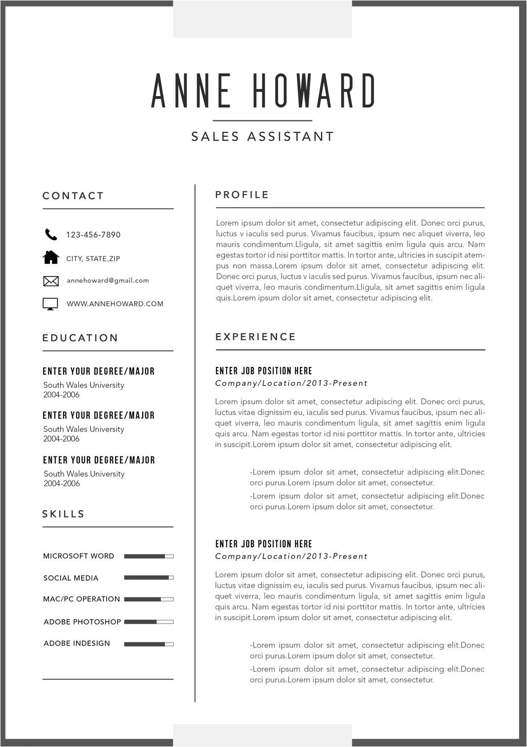 modern business resume