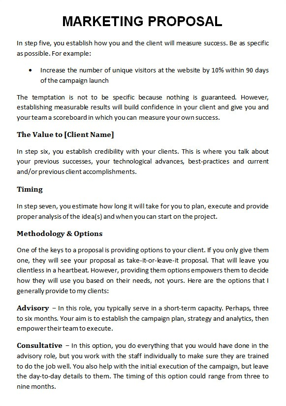 Content Marketing Proposal Template 19 Marketing Proposal Templates Sample Templates