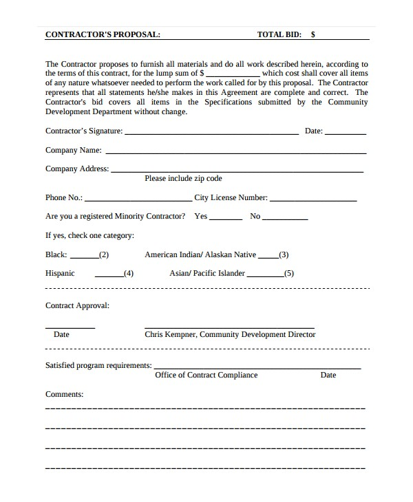 Contract Proposal Template Download Contractor Proposal Template 13 Free Word Document
