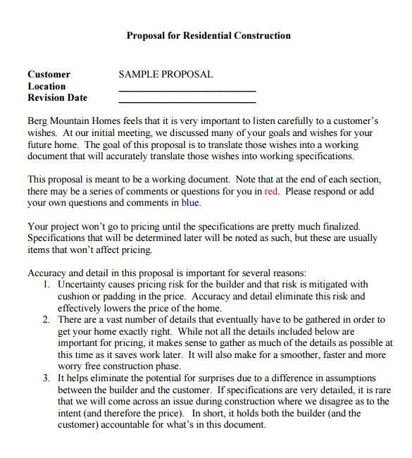 contractor proposal template