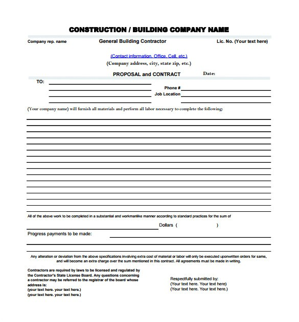 Contractor Proposal Template Pdf Construction Proposal Templates 19 Free Word Excel