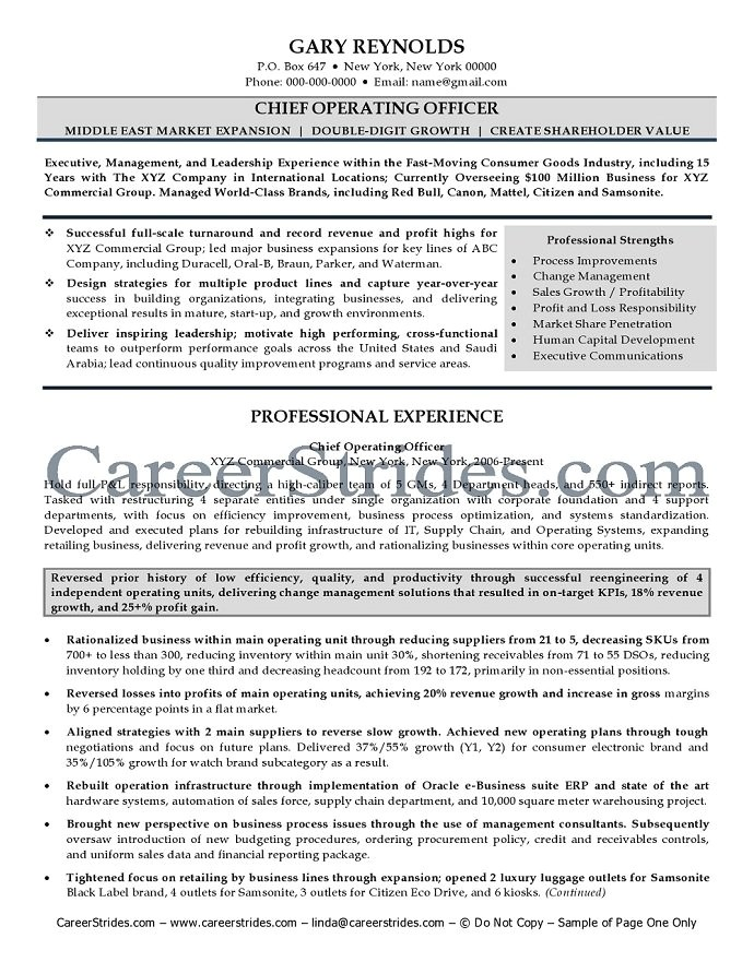 Coo Resume Templates Coo Resume Chief Operating Officer Resume Sample