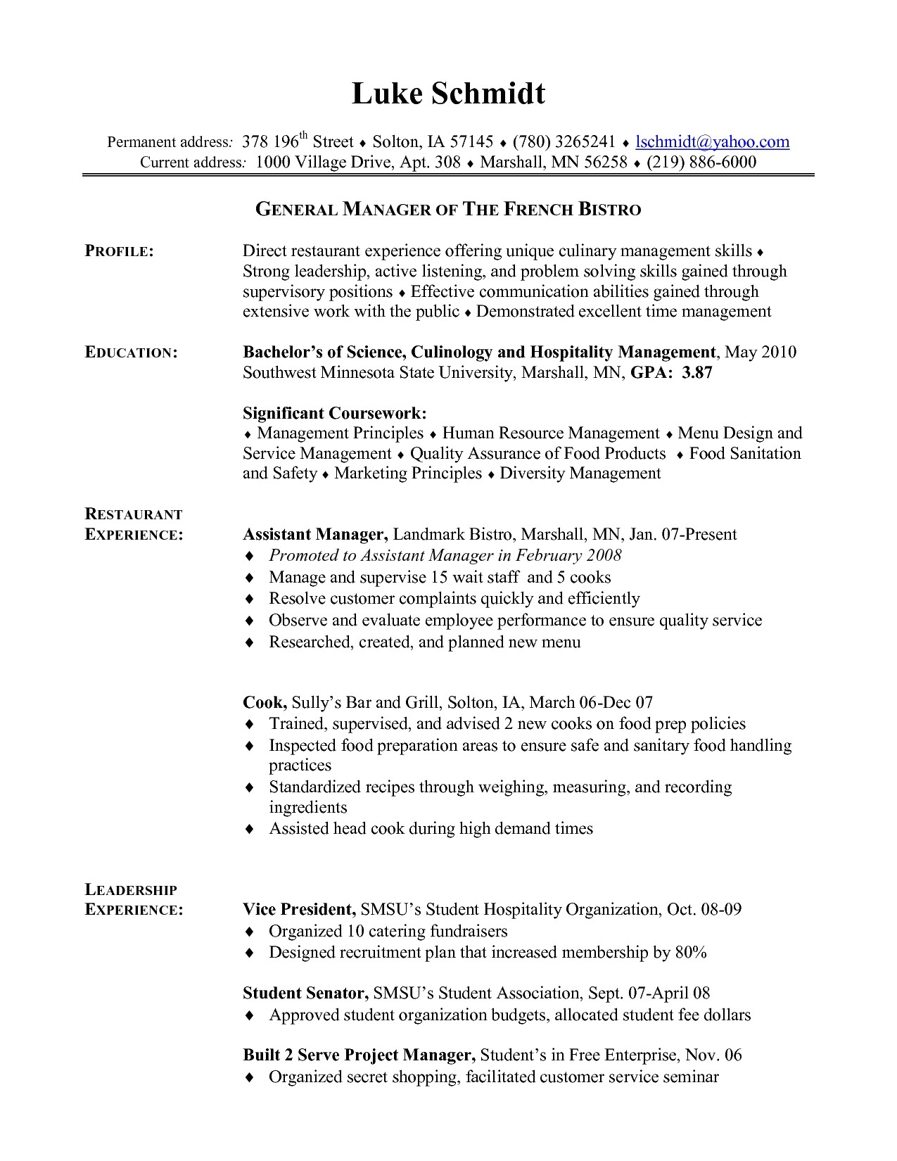 cook resume template