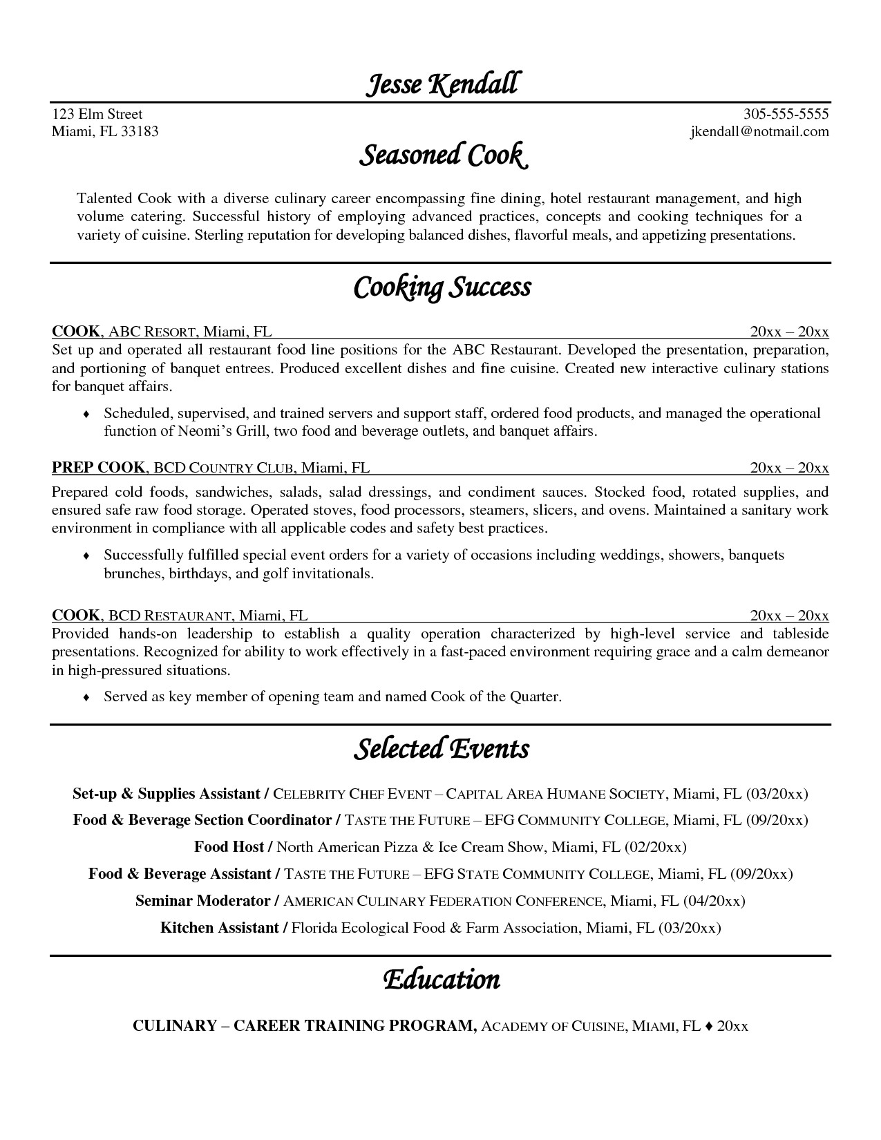 line cook resume objective