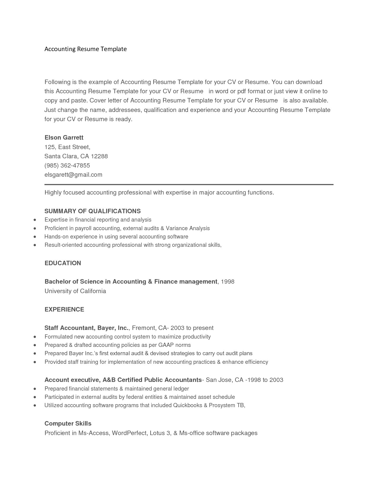 resume template copy and paste 2052