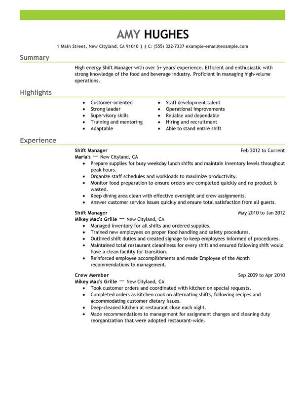 Copyable Resume Templates assistant Restaurant Manager Resume Http topresume