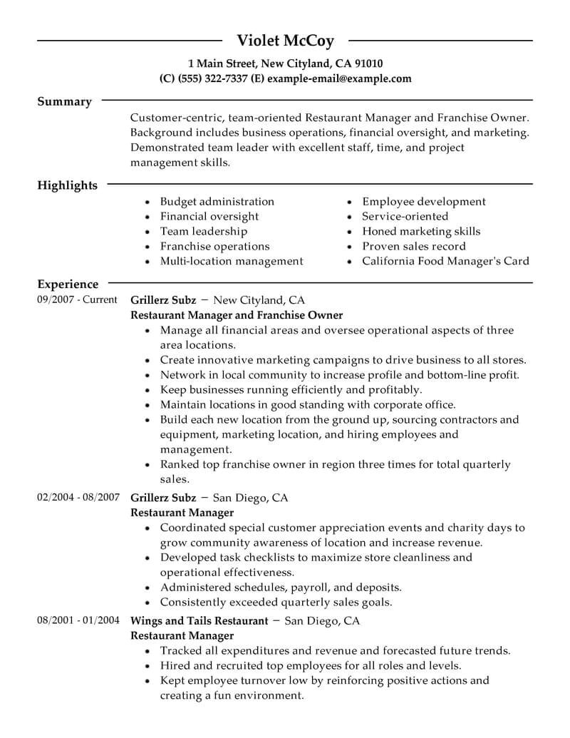 Copyable Resume Templates Best Franchise Owner Resume Example Livecareer