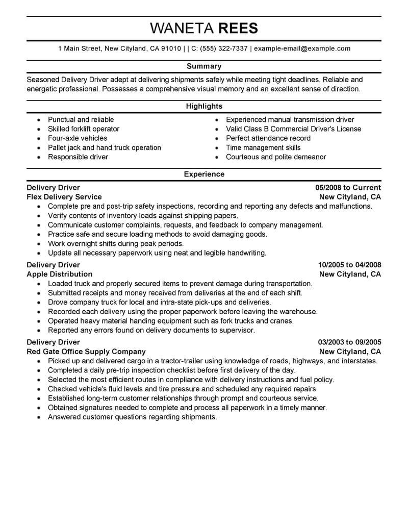 Copyable Resume Templates Delivery Driver Resume Sample Driver Resumes Livecareer
