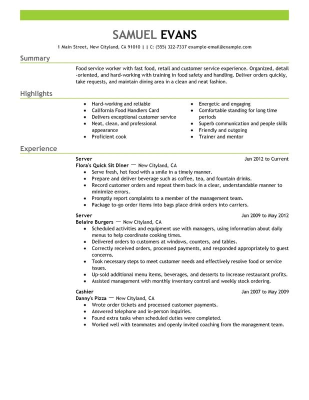 Copyable Resume Templates Fast Food Server Resume Examples Free to Try today