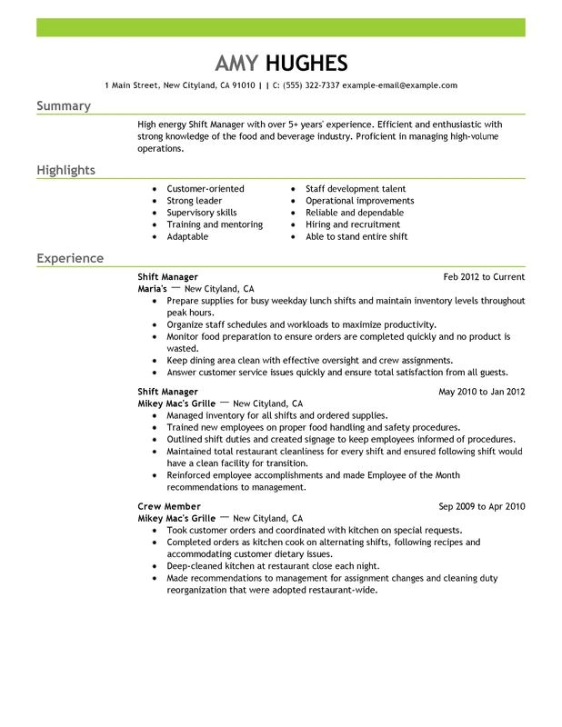Copyable Resume Templates Unforgettable Shift Manager Resume Examples to Stand Out