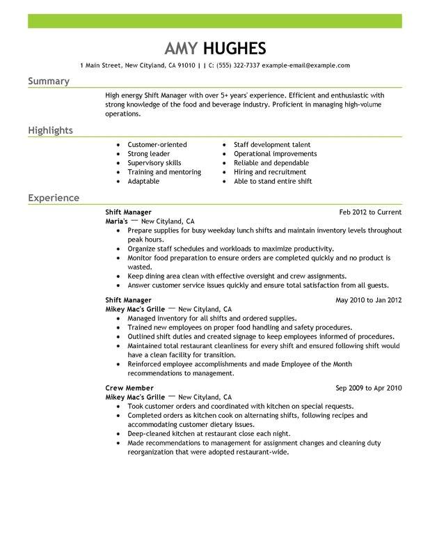 shift manager resume sample