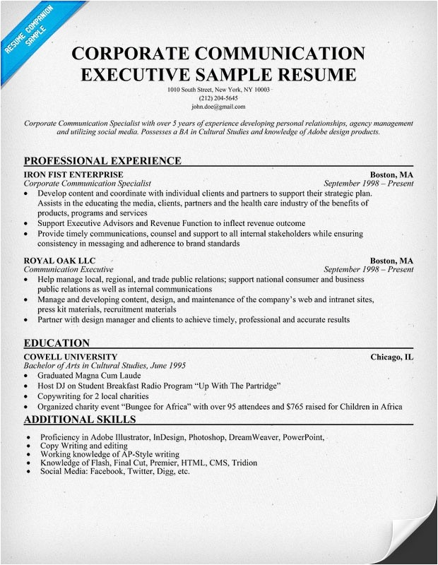 Corporate Communications Resume Samples Corporate Communication Executive Sample Resume