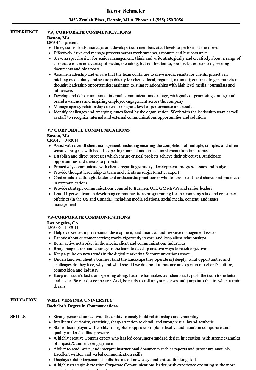 Corporate Communications Resume Samples Vp Corporate Communications Resume Samples Velvet Jobs