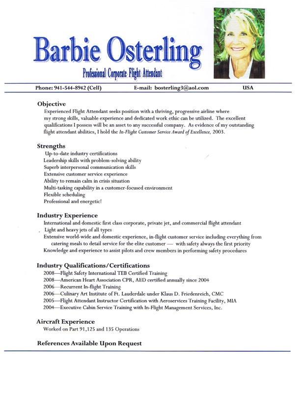 sample resume for flight attendant position