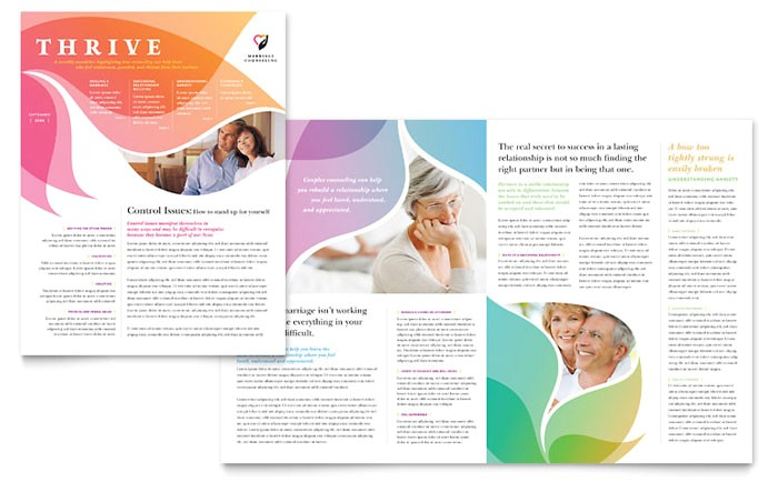 marriage counseling newsletter template design md0300301