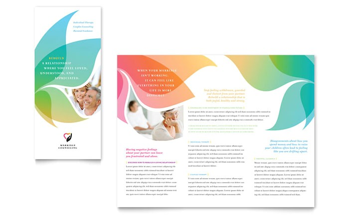 marriage counseling tri fold brochure template design md0302301