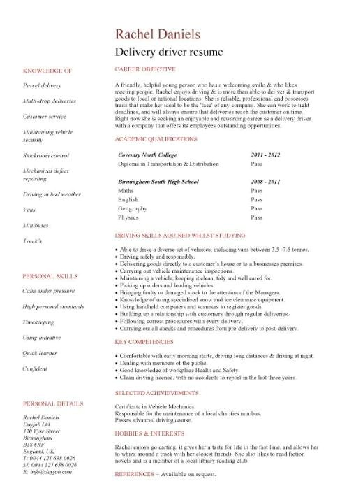 Courier Driver Resume Sample Delivery Driver Cv Sample Able to Work In Any Weather