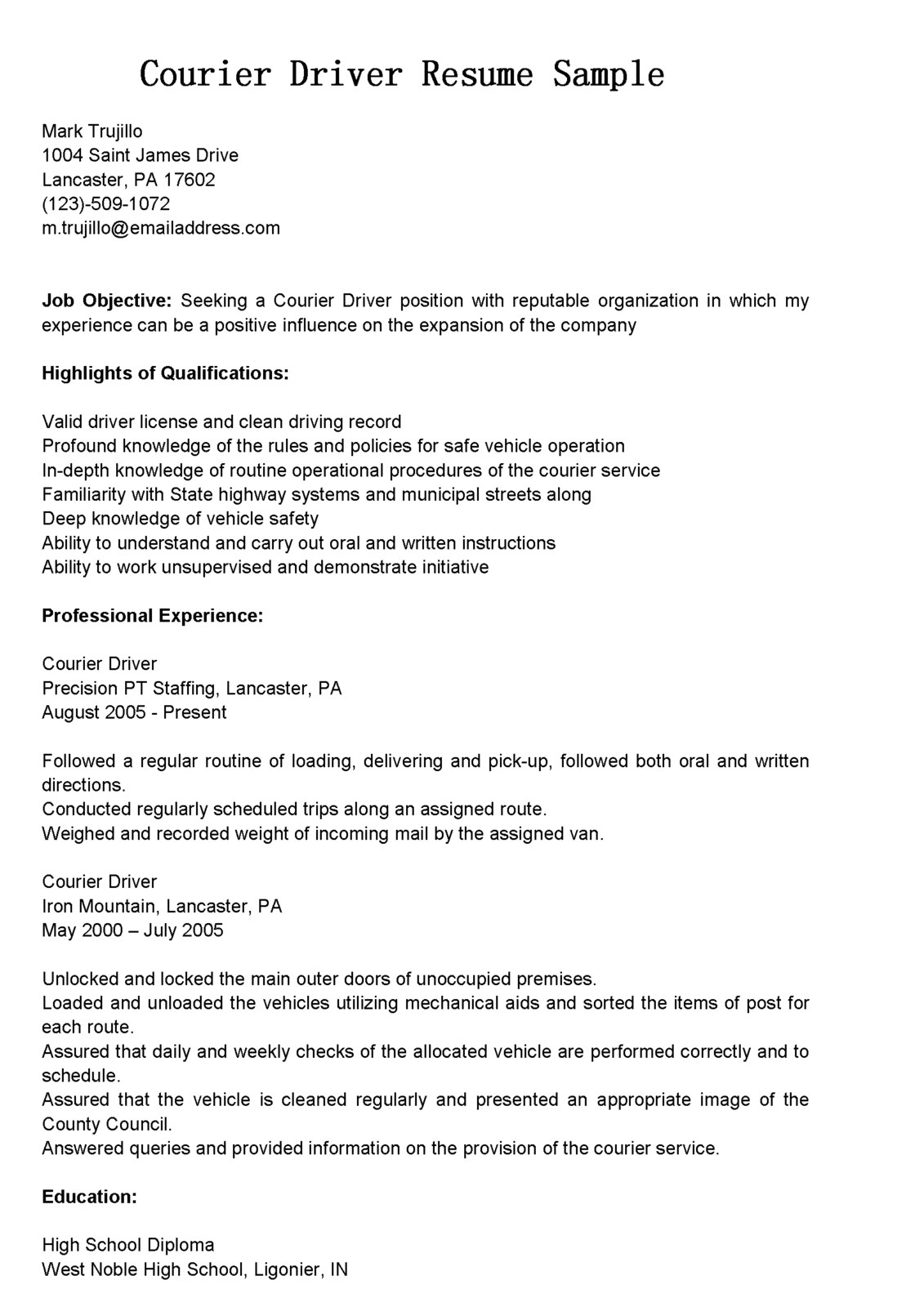 Courier Driver Resume Sample Driver Resumes Courier Driver Resume Sample