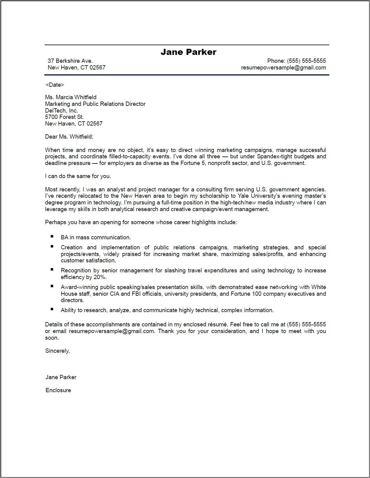 resume cover letter sample it