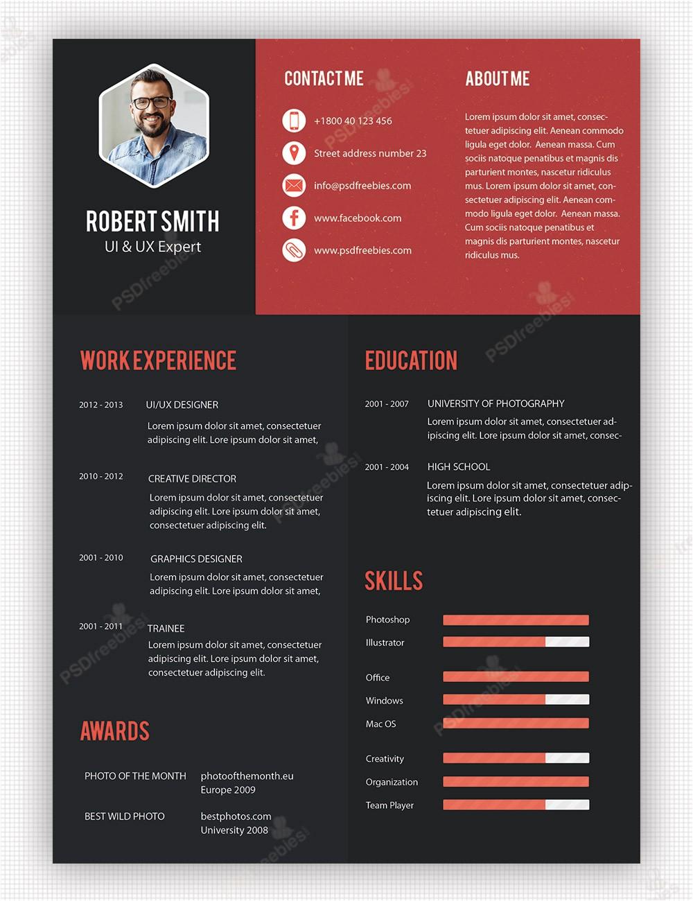 Creative Free Resume Templates Creative Professional Resume Template Free Psd