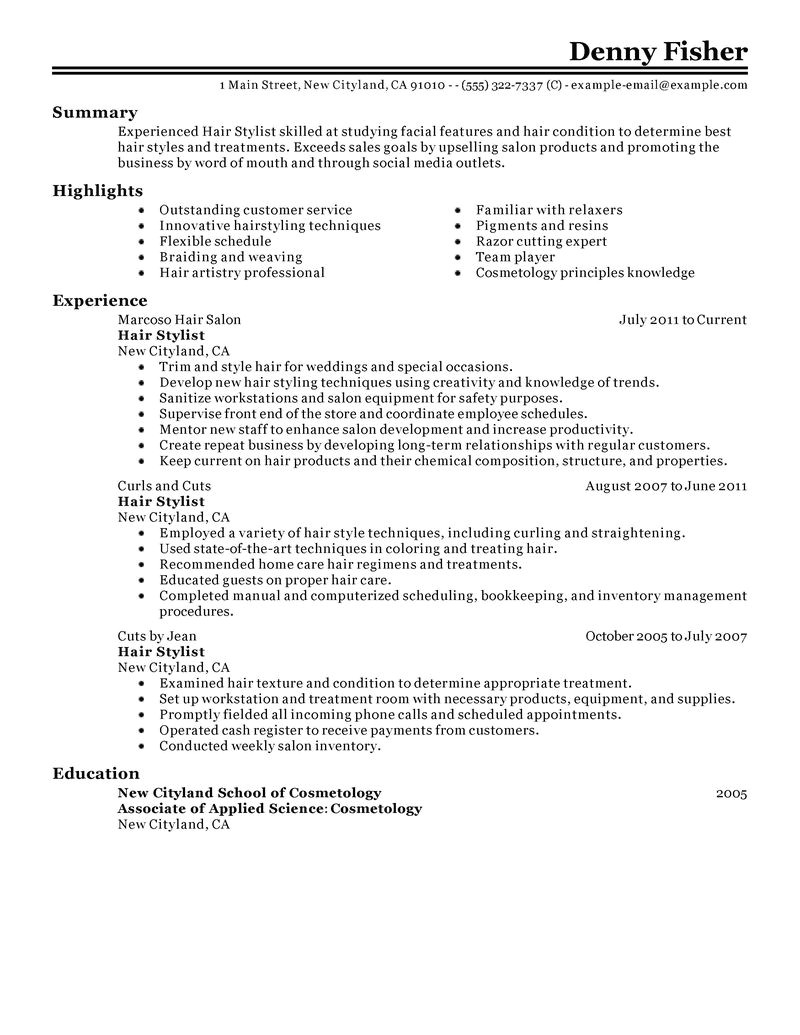 Creative Hair Stylist Resume Templates Hair Stylist Resume Example Personal Services Sample