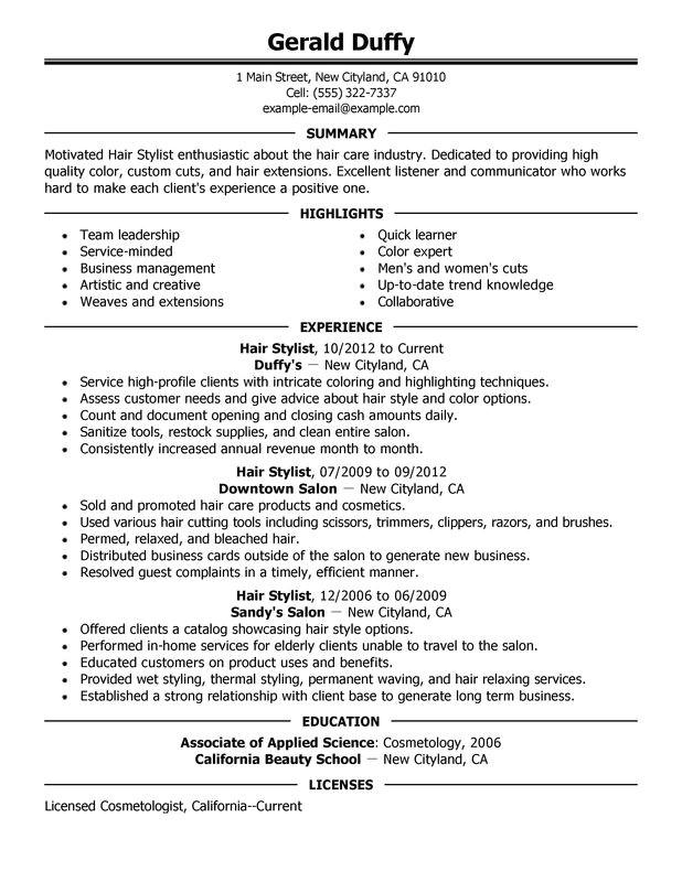 hair stylist resume sample