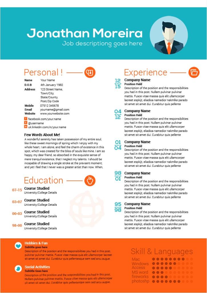 creative professional curriculum vitae template