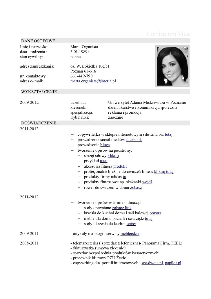 Csv Resume Template Curriculum Vitae Resume Cv
