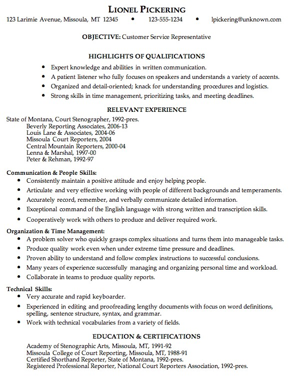 combination resume sample customer service representative