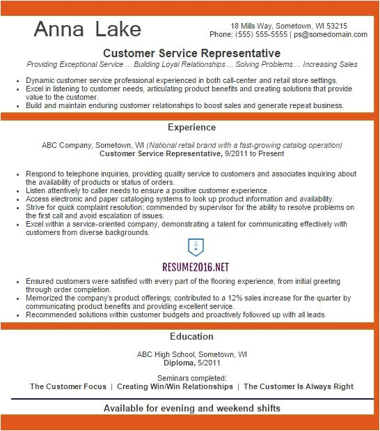 customer service representative resume example 2016