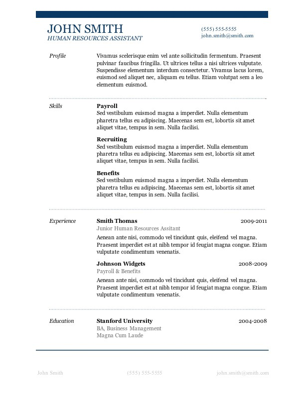 microsoft word resume templates