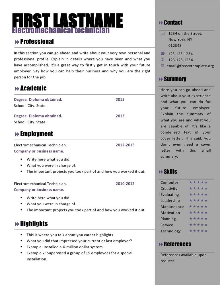 Cv Resume Template Microsoft Word Free Curriculum Vitae Templates 466 to 472 Free Cv