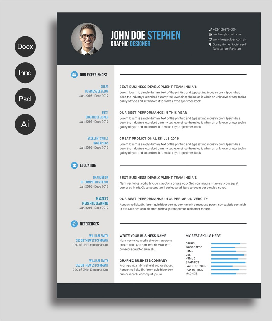 free ms word resume cv template