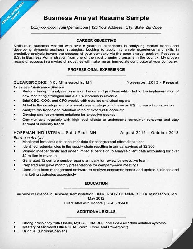 Data Analyst Resume Template Business Analyst Resume Sample Writing Tips Resume
