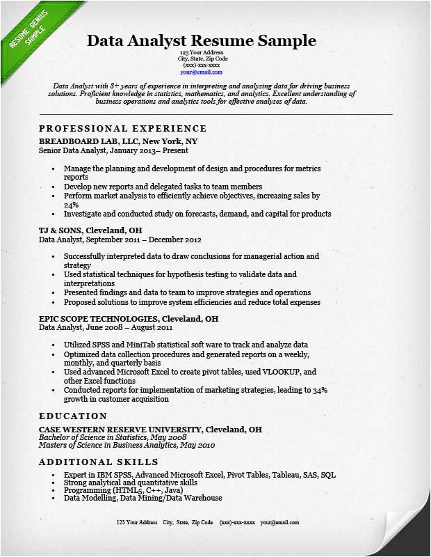 Data Analyst Resume Template Data Analyst Resume Sample Resume Genius