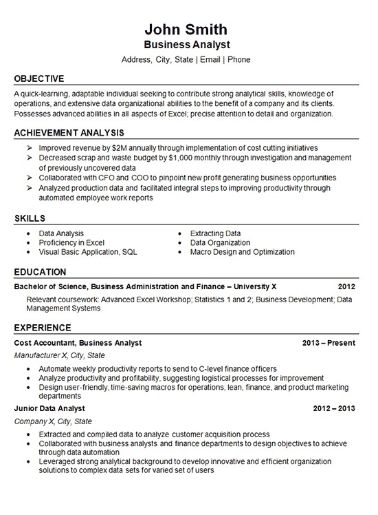 data analyst resumes