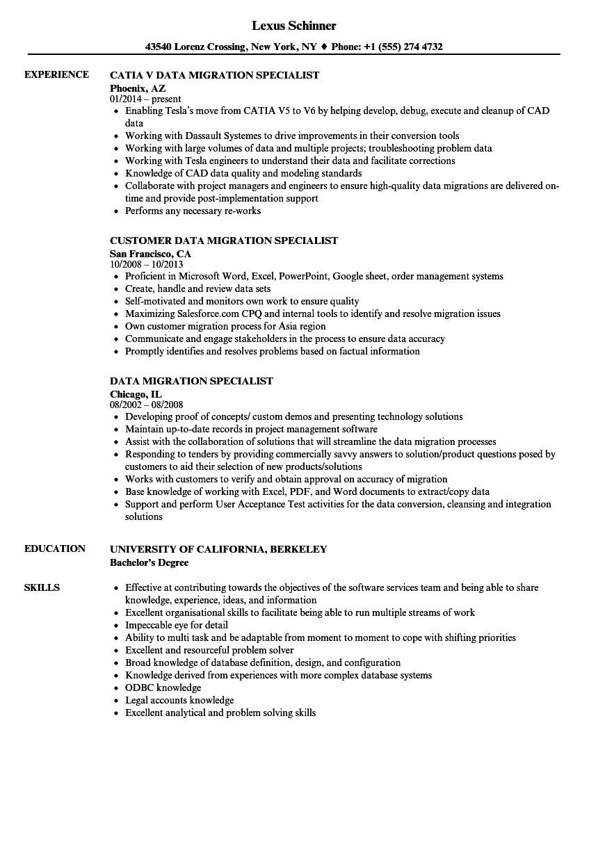 data migration specialist resume sample