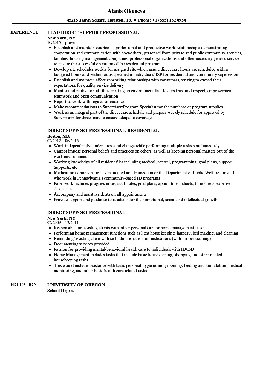 direct support professional resume