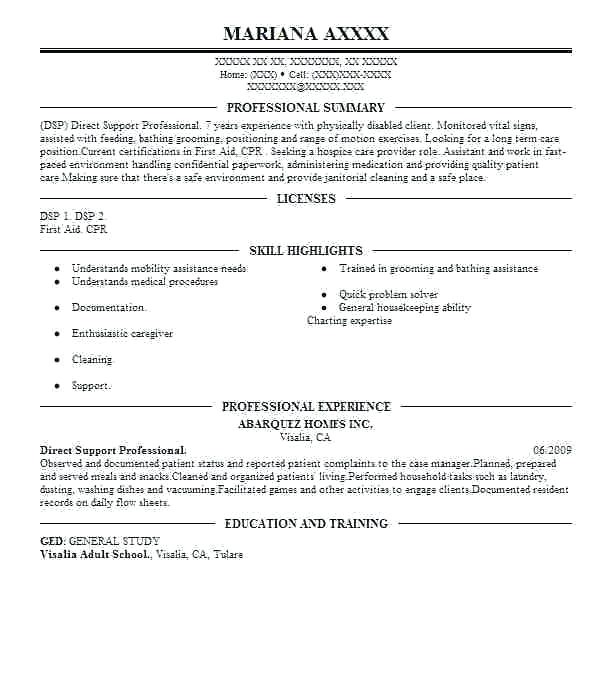 direct support staff resume