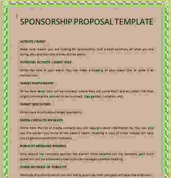 5 sponsorship proposal template