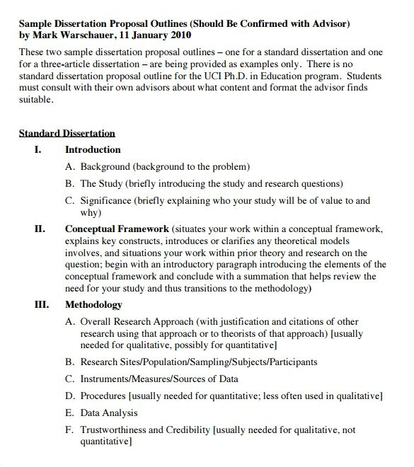 Dissertation Proposal Outline Template 9 Dissertation Outline Template Doc Pdf Free
