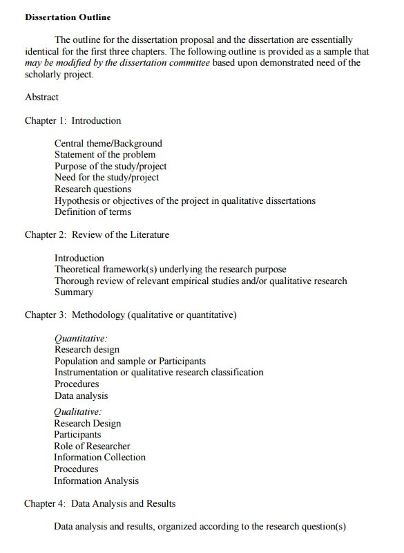 dissertation outline template