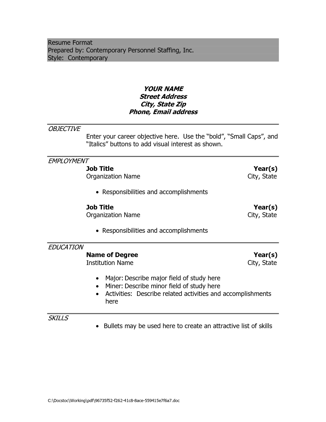 Doc Resume Templates Resume Sample Doc Free Excel Templates